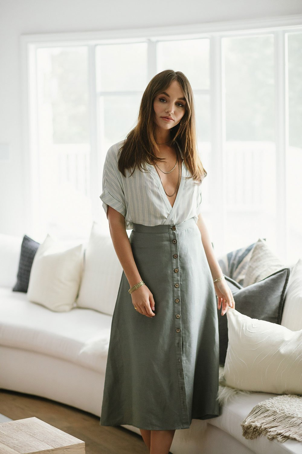 Chaser Linen Button Down A Line Midi Skirt - Scout