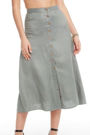 Chaser, Women - Skirts,  Chaser Linen Button Down A Line Midi Skirt - Scout