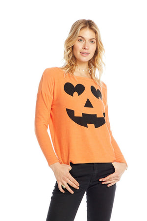 Chaser, Women - Shirts & Tops,  Chaser Pumpkin Face