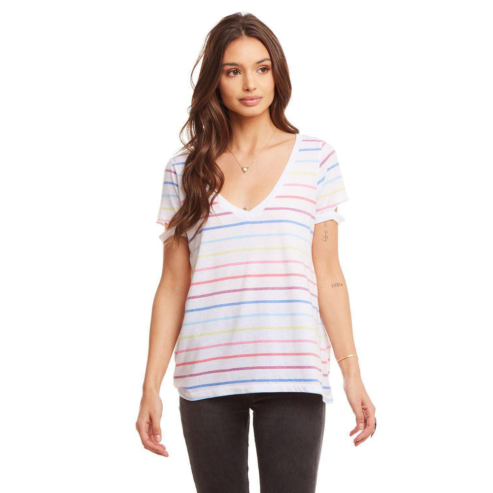 Chaser, Women - Shirts & Tops,  Chaser Vintage Jersey Shirttail Muscle w/ Yoke Rainbow Stripe