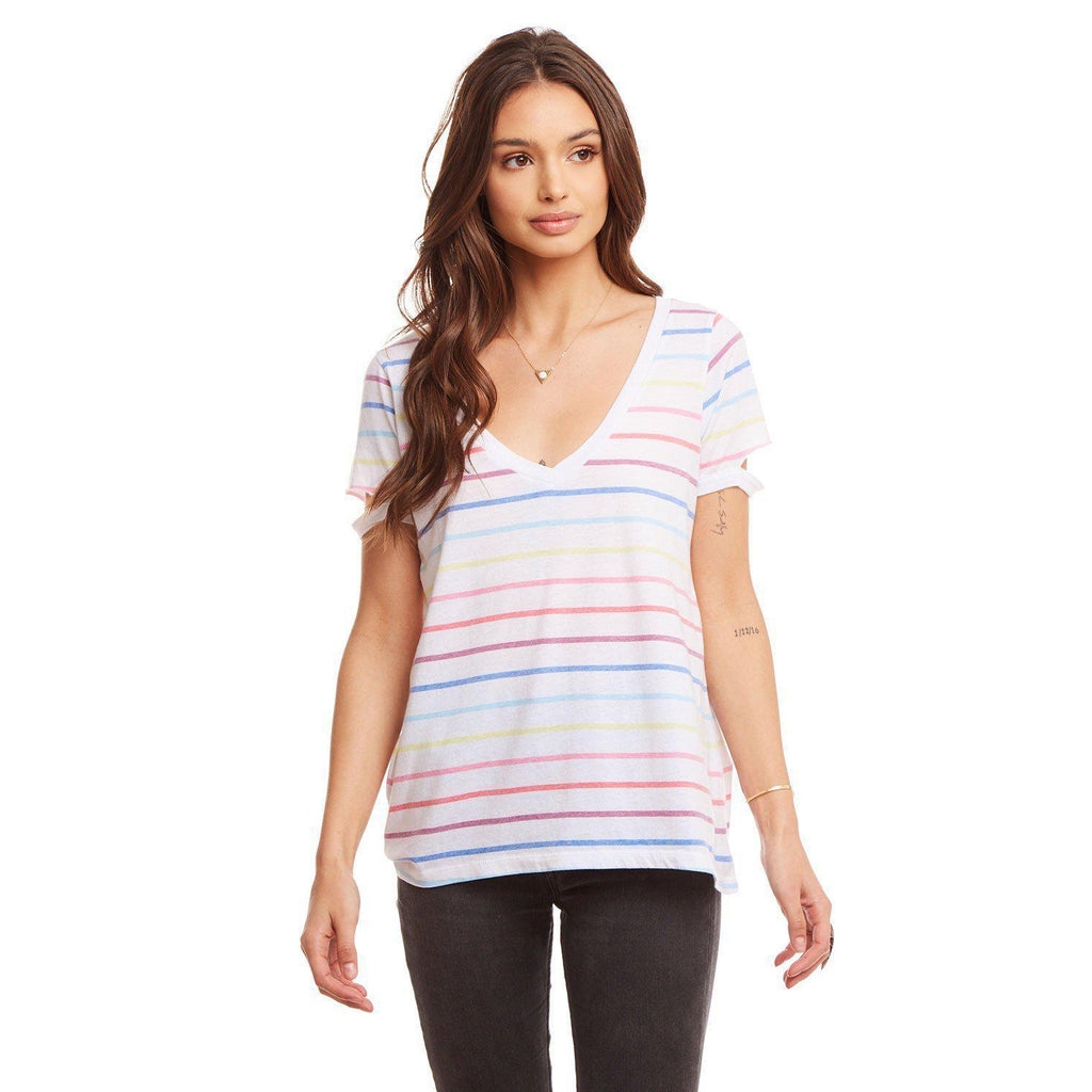 Chaser Vintage Jersey Shirttail Muscle w/ Yoke Rainbow Stripe-Women - Shirts & Tops-Chaser-S-Eden Lifestyle