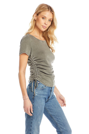Chaser, Women - Tees,  Chaser Vintage Rib Short Sleeve Ruched Drawstring Sides Tee - Kale