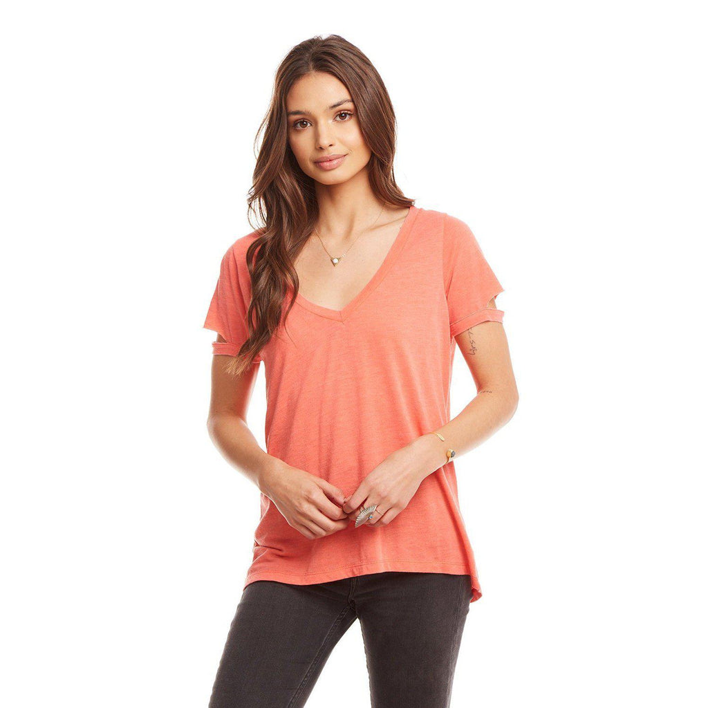 Chaser Vintage Jersey Vented Short Sleeve Deep V-Neck Tee-Women - Tees-Chaser-S-Eden Lifestyle