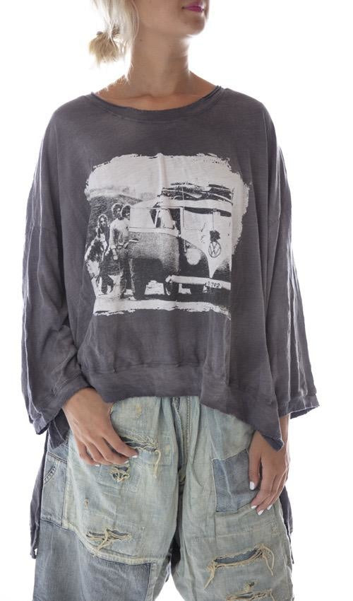 Magnolia Pearl Cotton Jersey Oversized Hi Lo Baja Surf Francis Pullover T with Distressing and Fading