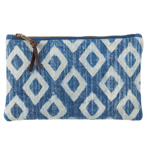 Mud Pie, Gifts - Other,  Mud Pie Dhurrie Cotton Diamond Print Porto Pouch