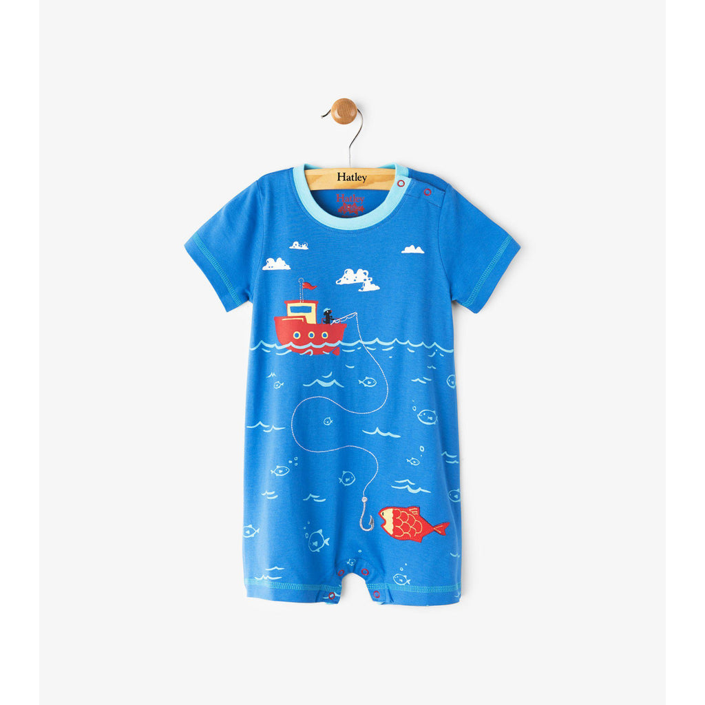 Hatley Fishing Day Short Sleeve Mini Romper-Baby Boy Apparel - Rompers-Hatley-3-6M-Eden Lifestyle