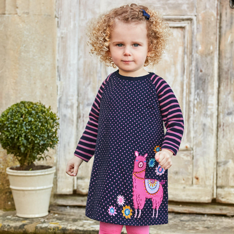 Girls' Navy Spot Llama A-Line Dress