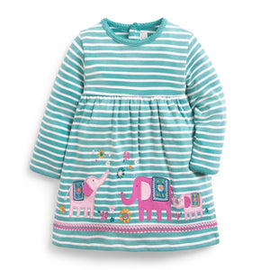 Duck Egg Stripe Elephant Applique Dress-Baby Girl Apparel - Dresses-Jojo Maman Bebe-12-18M-Eden Lifestyle