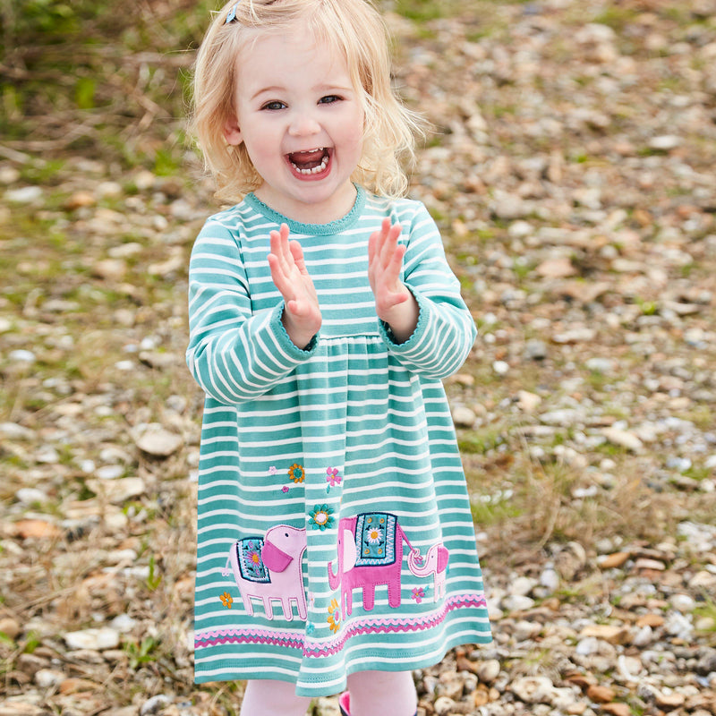 Duck Egg Stripe Elephant Applique Dress
