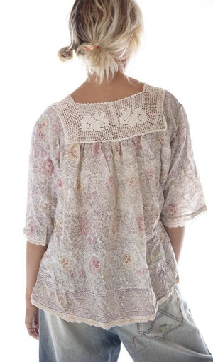 Magnolia Pearl European Cotton Hand Block Print Eula Top with Sunfading, Hand Crochet Rabbit Yoke, Small Front Pocket and Lace Details