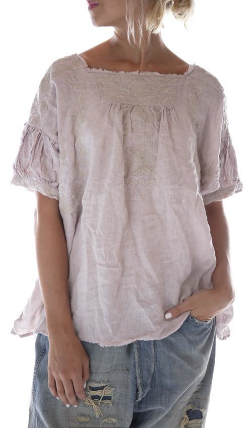 Magnolia Pearl European Linen Embroidered Keldan Blouse with Raw Edges and Gathered Peasant Sleeves Top 711-Lilac Water-One Size