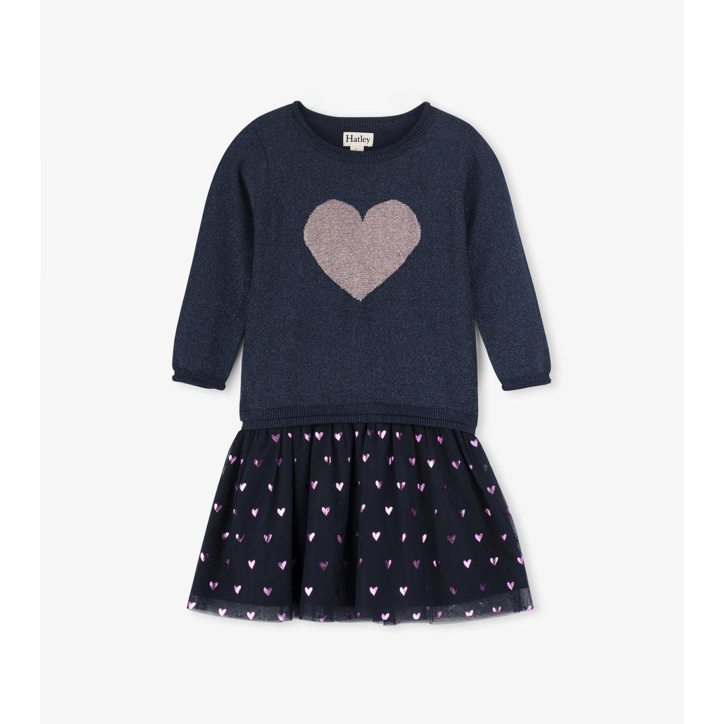Hatley Glitter Heart Drop Waist Dress-Girl - Dresses-Hatley-2-Eden Lifestyle