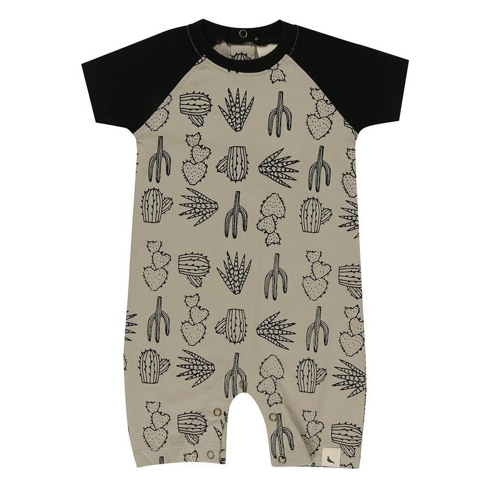 Turtledove London Raglan Romper Cactus Print-Baby Boy Apparel - Rompers-Turtledove London-0-3M-Eden Lifestyle