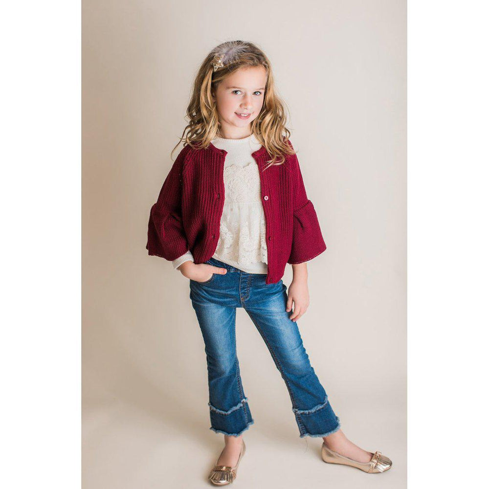 Mae Li Rose Bell Sleeve Cardigan - Burgundy-Baby Girl Apparel - Shirts & Tops-Eden Lifestyle-2T-Eden Lifestyle