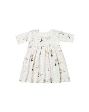 Rylee and Cru, Baby Girl Apparel - Dresses,  Rylee & Cru Winter Birds Finn Dress Ivory