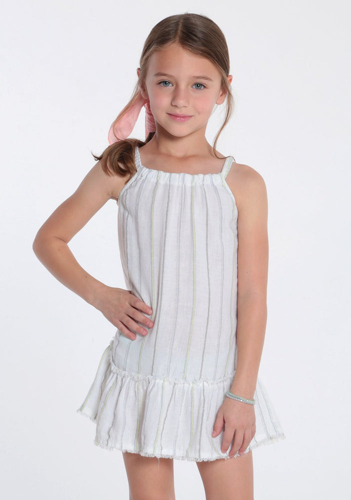 Frayed Ruffle Sundress in White Shimmer Stripe