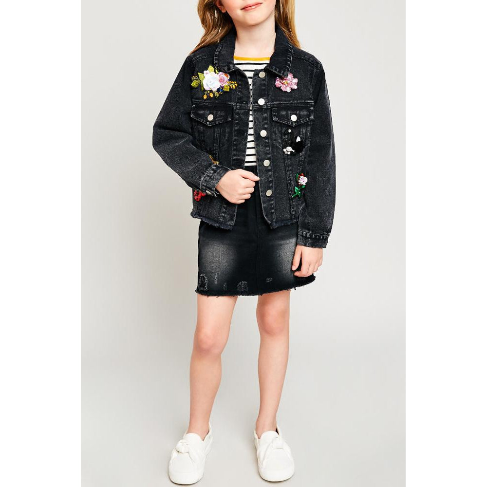 Black Denim Button Down Jacket-Girl - Outerwear-Hayden LA-7-8Y-Eden Lifestyle