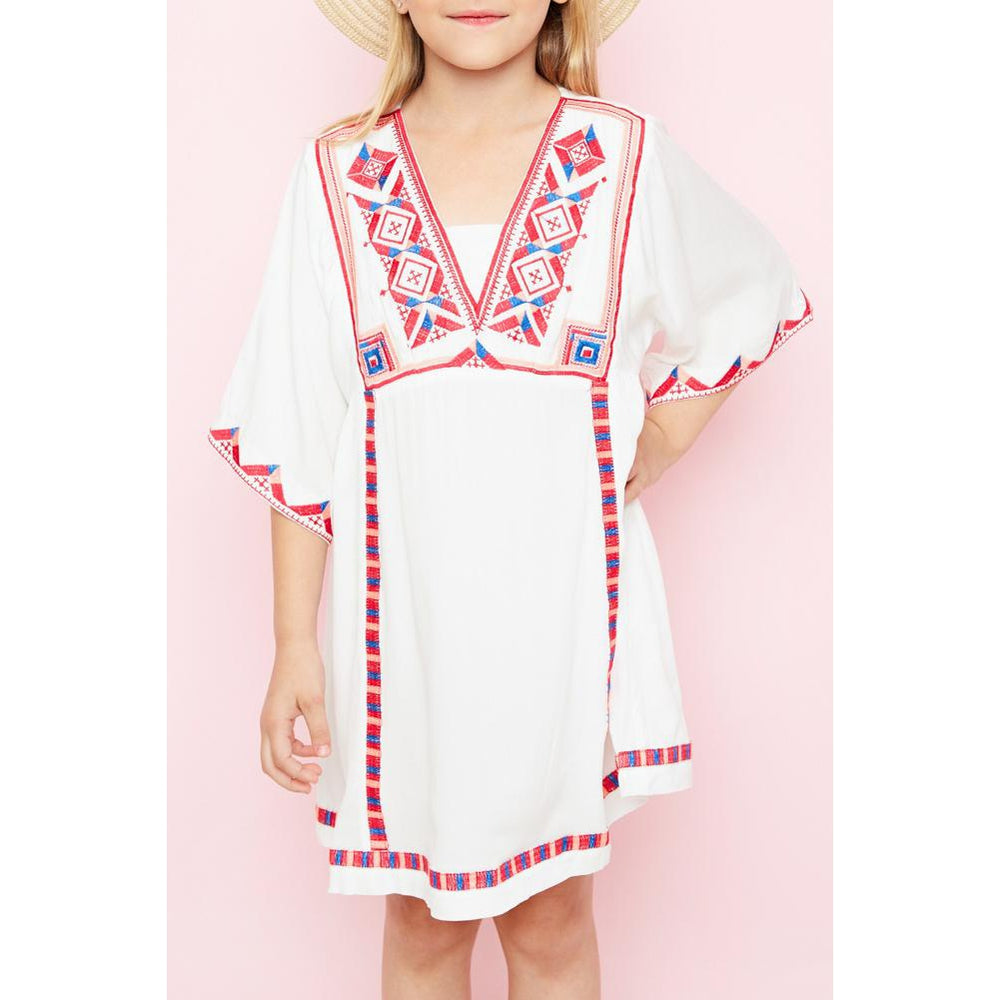 Fancy Embroidered Bell Sleeve Dress-Girl - Dresses-Hayden LA-7-Eden Lifestyle