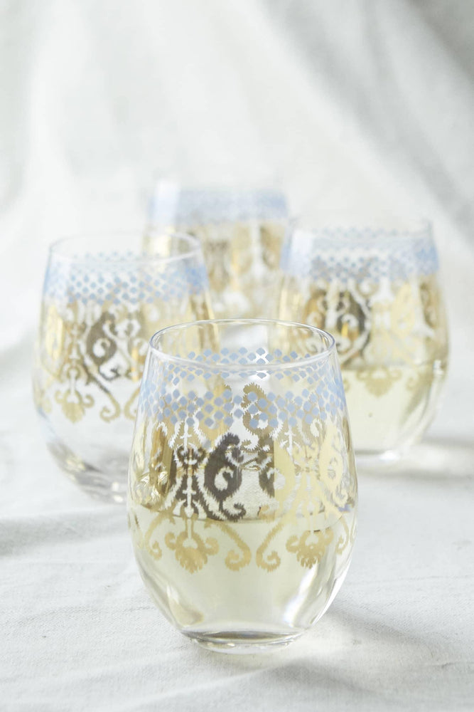 Golden Ikat Stemless Wine Glass - Eden Lifestyle