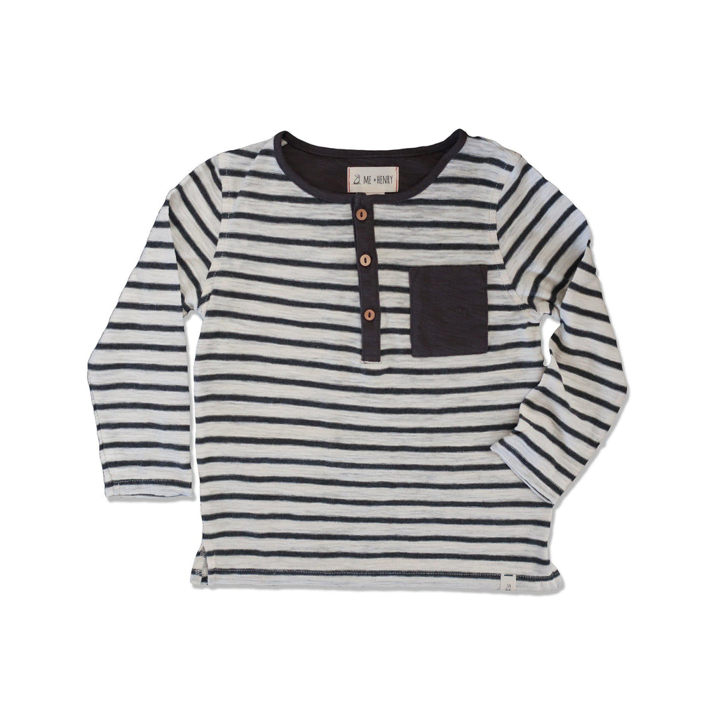 Me & Henry | Striped Henley Tee-Boy - Tees-Me & Henry-2-3Y-Eden Lifestyle