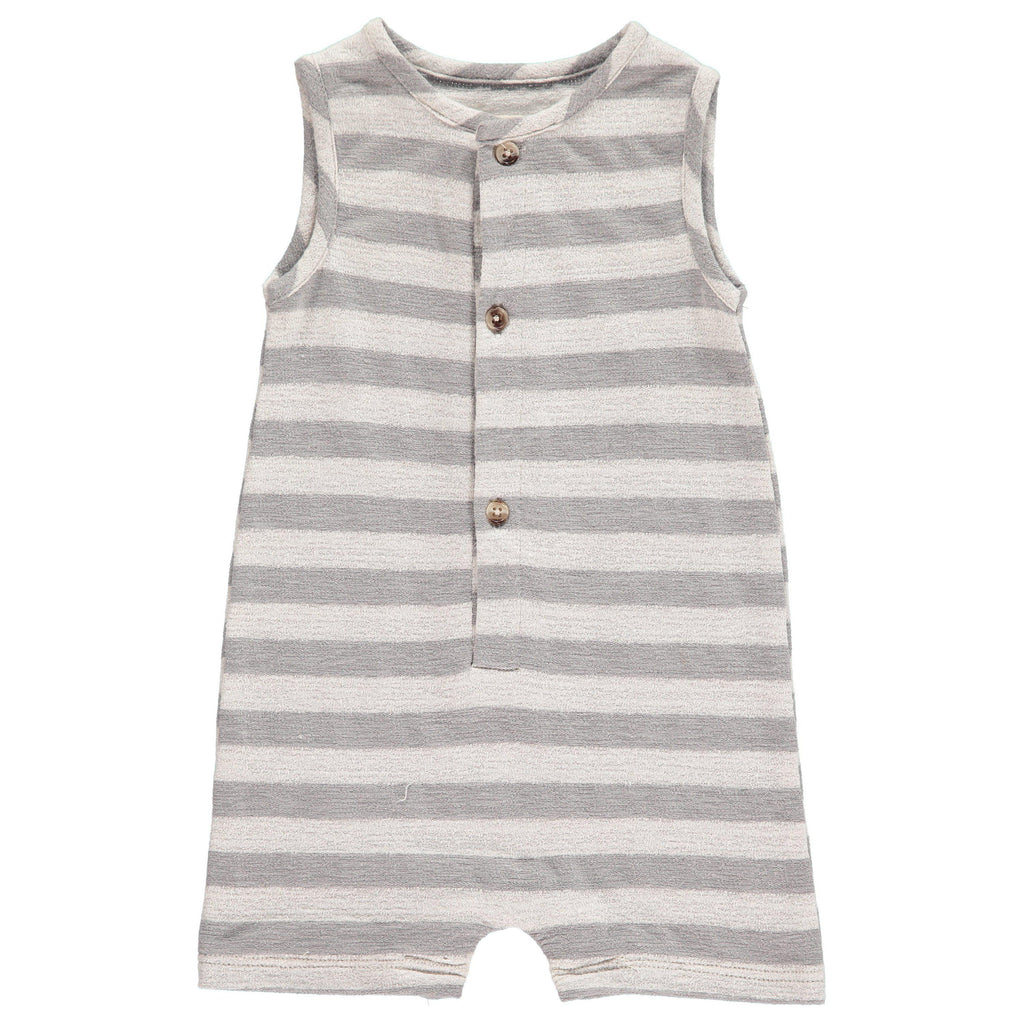 Me & Henry | Grey Striped Jersey Playsuit-Baby Boy Apparel - Rompers-Me & Henry-0/3M-Eden Lifestyle