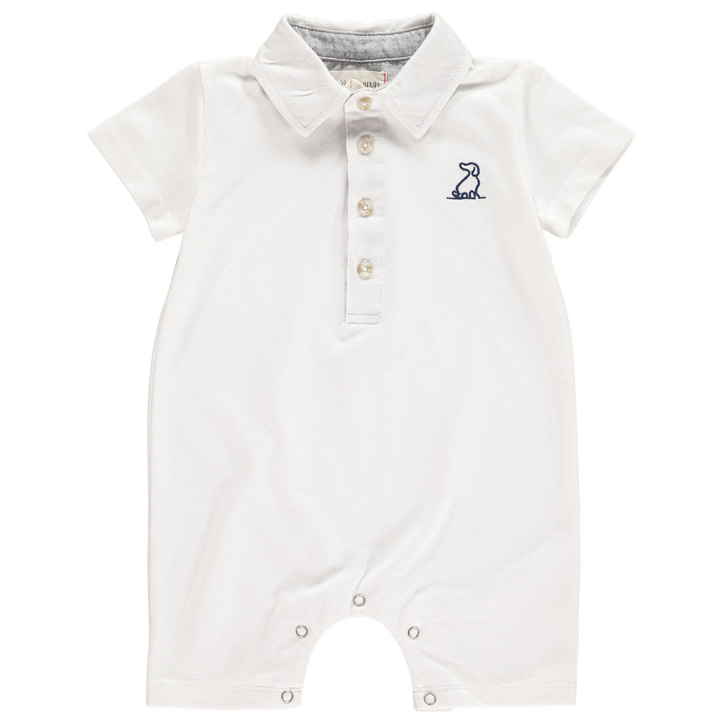 Me & Henry | White Pique Polo Romper-Baby Boy Apparel - Rompers-Me & Henry-0/3M-Eden Lifestyle