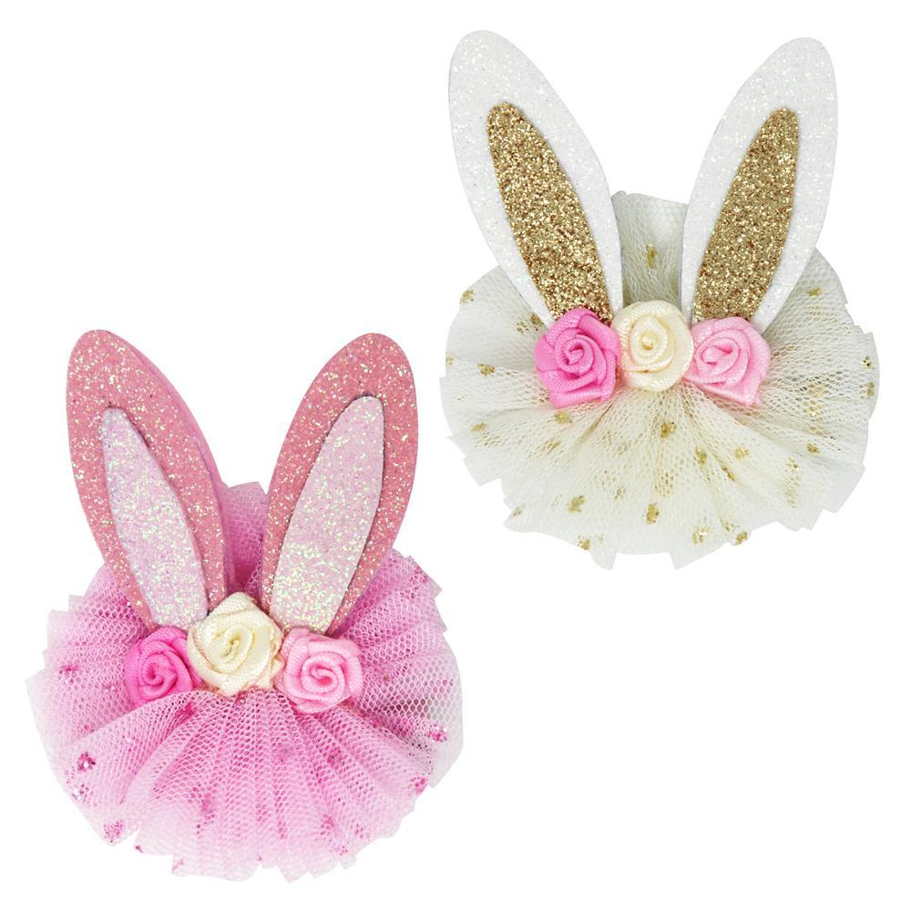 Floral Bunny Hair Clips-Accessories - Bows & Headbands-Eden Lifestyle-Eden Lifestyle