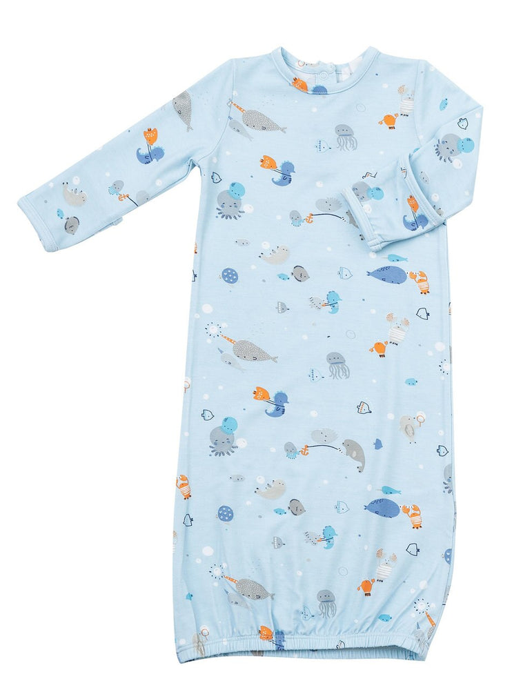 Gown with Beanie Set in Happy Ocean