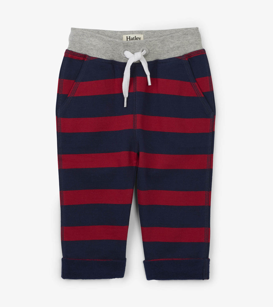 Hatley, Baby Boy Apparel - Pants,  Hatley Crimson Stripe Baby Jogger