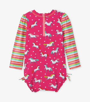 Hatley, Baby Girl Apparel - Swimwear,  Hatley Prancing Unicorns Rashguard Swimsuit
