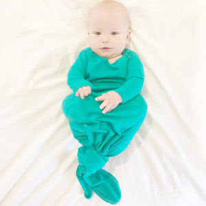 Aspen Lane Baby Knotted Gown - Kelly Green-Baby Girl Apparel - Pajamas-Aspen Lane-0-3M-Eden Lifestyle