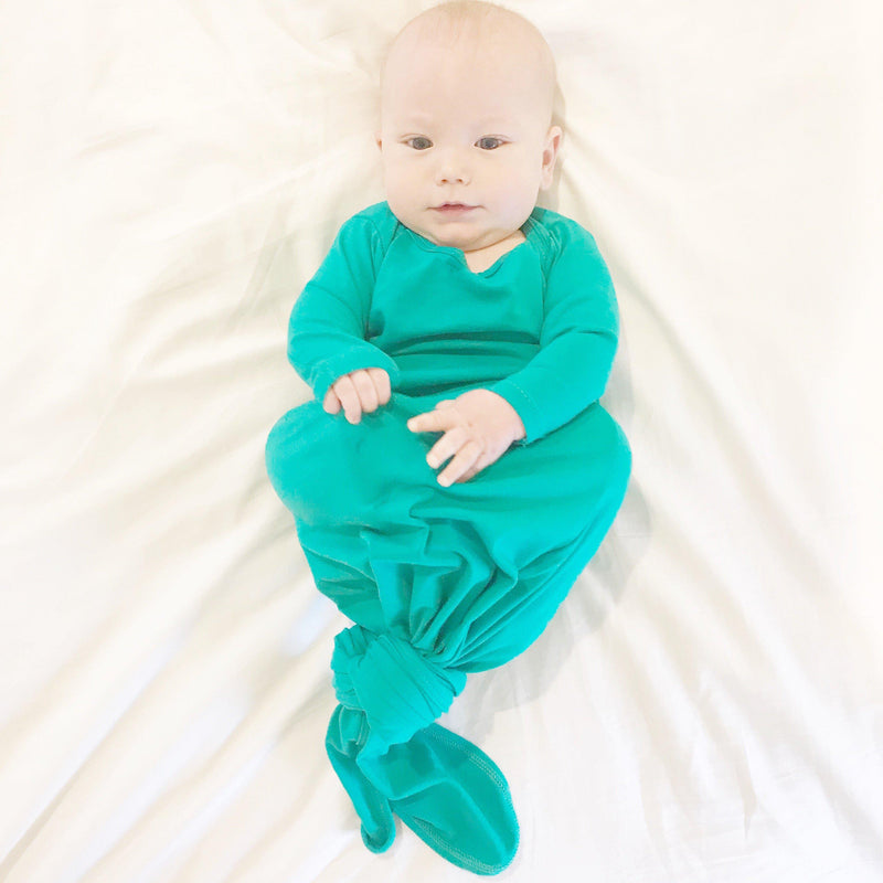 Aspen Lane, Pajamas,  Baby Knotted Gown - Kelly Green