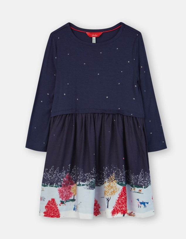 Joules, Baby Girl Apparel - Dresses,  Joules Merrie Navy Wildlife Border Woven Mix Boarder Dress