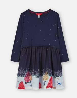 Joules Merrie Navy Wildlife Border Woven Mix Boarder Dress