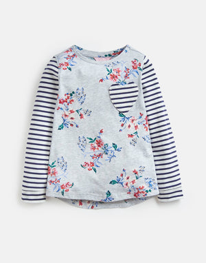 Joules, Girl - Tees,  Joules Mish Mash Grey Floral T-Shirt