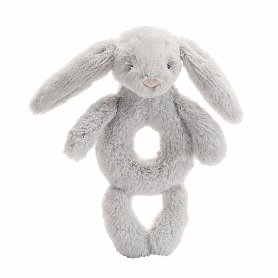 Jellycat, Gifts - Stuffed Animals,  Jellycat Bashful Grey Bunny Ring Rattle