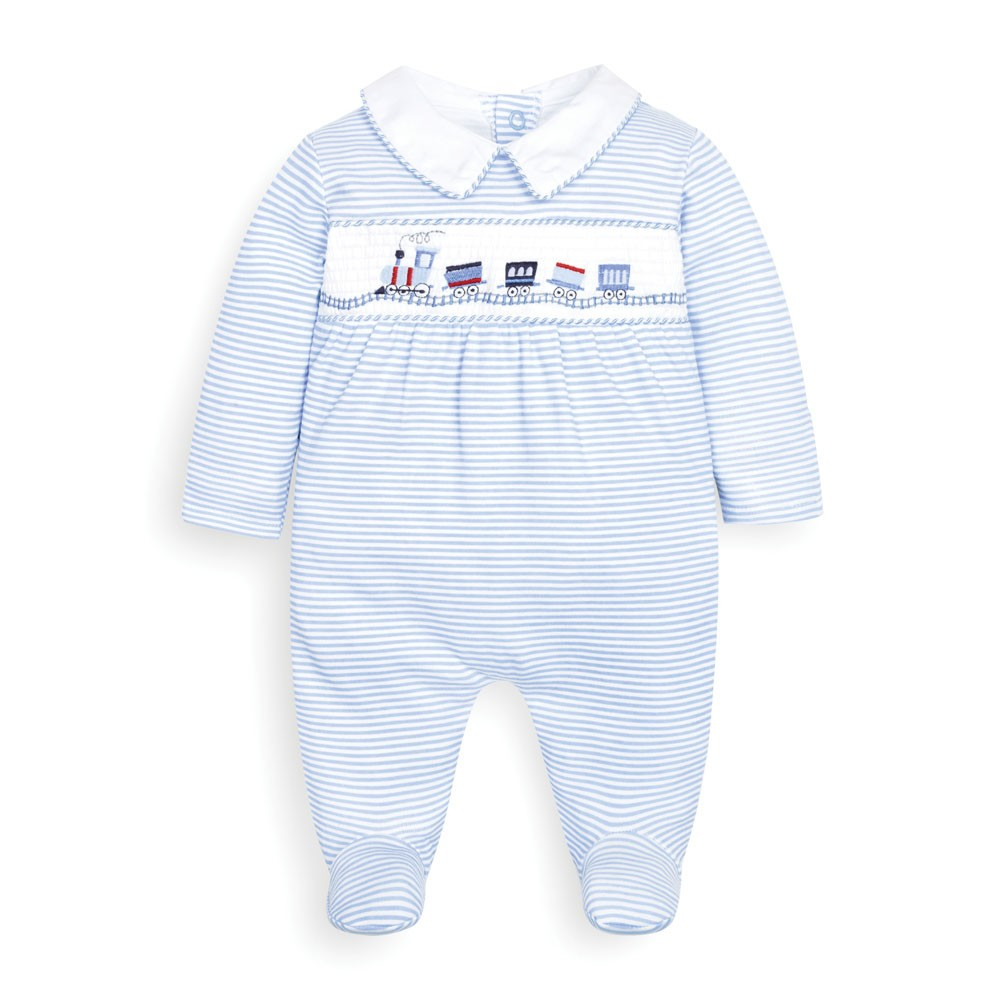 Jojo Maman Bebe Blue Stripe Train Smocked Baby Footie
