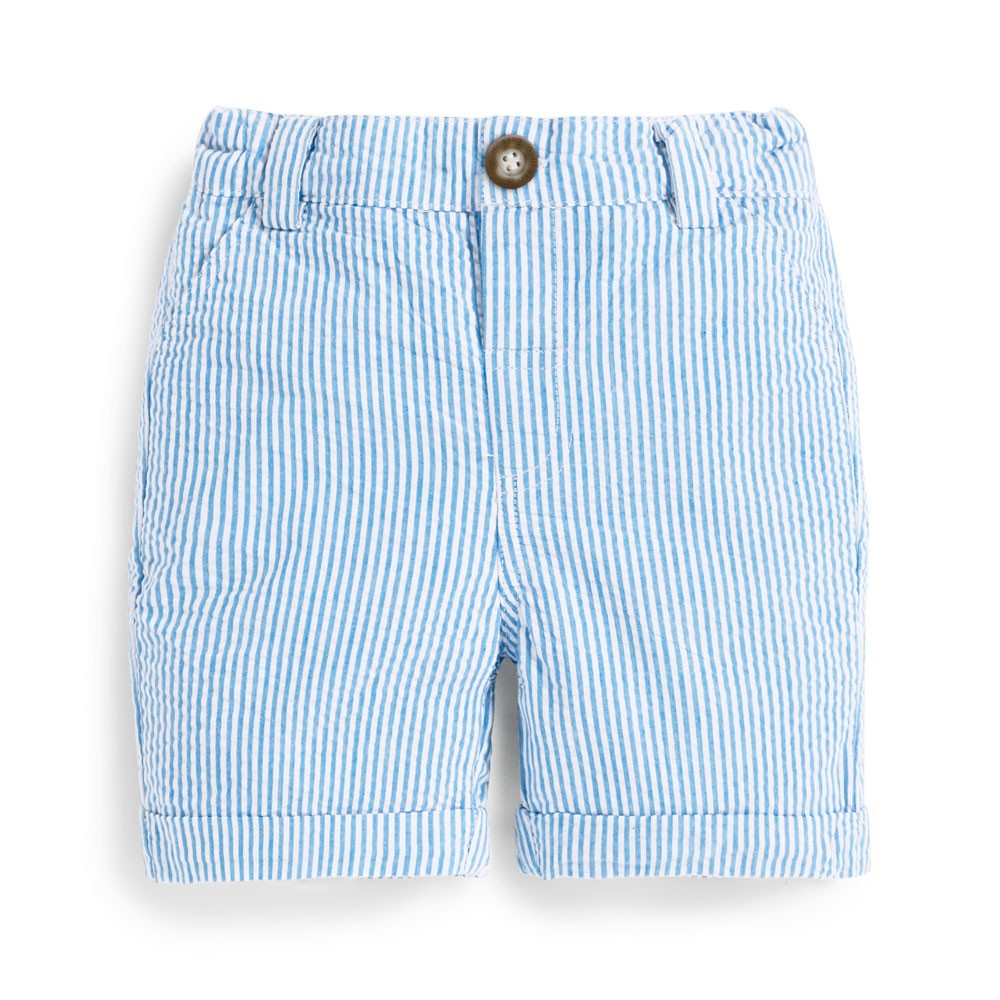Jojo Maman Bebe, Baby Boy Apparel - Shorts,  Jojo Maman Bebe Baby Boys' Blue Seersucker Stripe Shorts