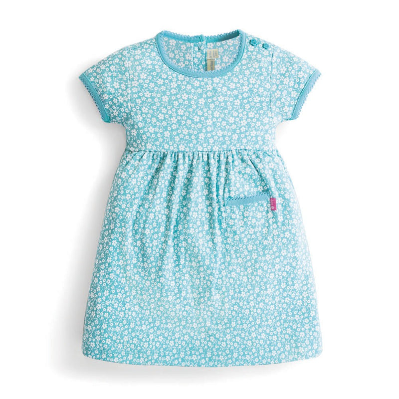 Jojo Maman Bebe Ditsy Floral Essential Dress - Duck Egg-Girl - Dresses-Jojo Maman Bebe-2-3Y-Eden Lifestyle