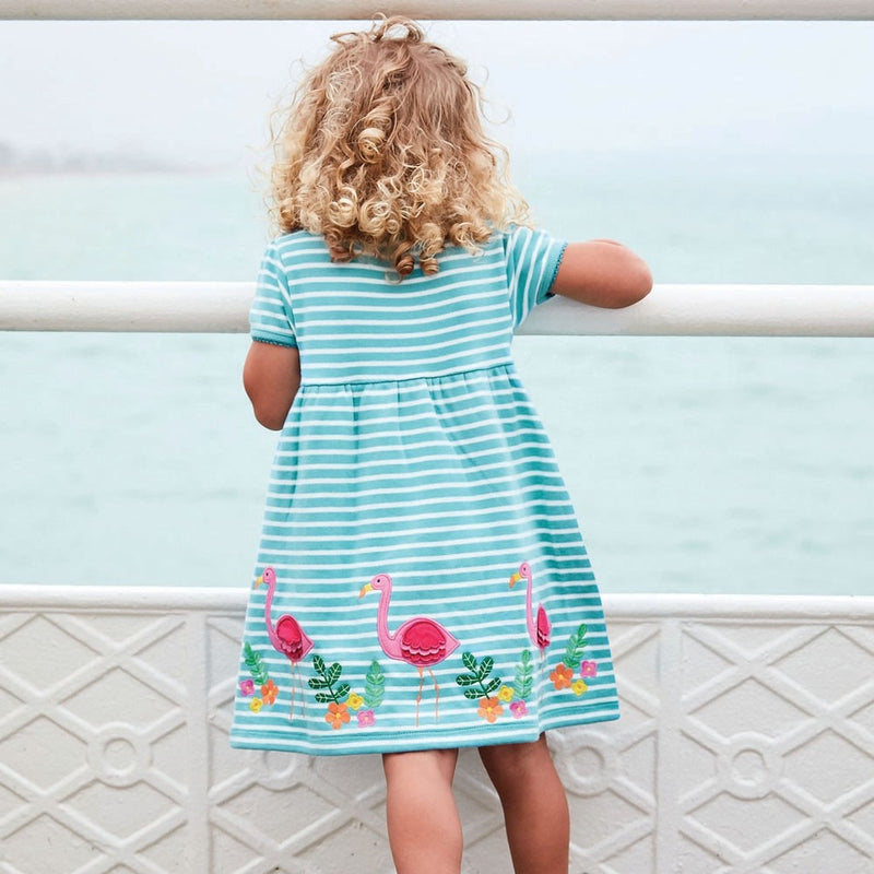 Jojo Maman Bebe Flamingo Appliqué Dress-Girl - Dresses-Jojo Maman Bebe-2-3Y-Eden Lifestyle