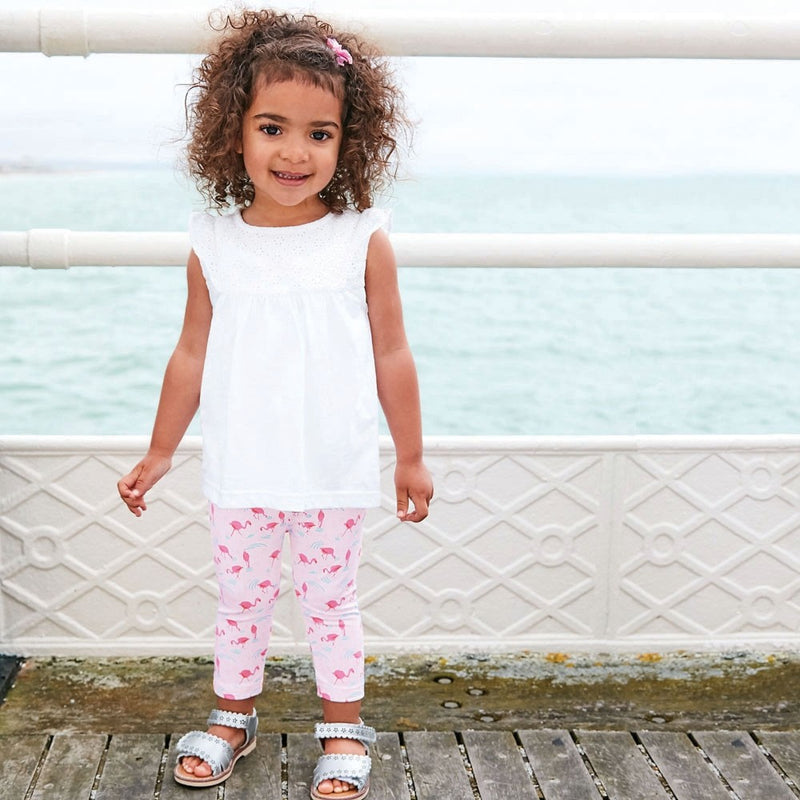 Jojo Maman Bebe Flamingo Cropped Leggings-Girl - Leggings-Jojo Maman Bebe-2-3Y-Eden Lifestyle