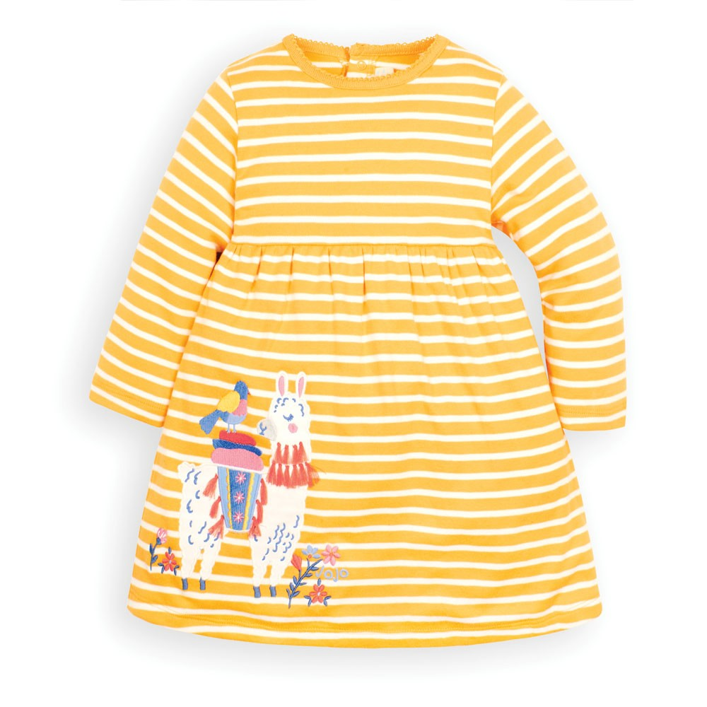 Jojo Maman Bebe, Baby Girl Apparel - Dresses,  Jojo Maman Bebe Baby Girls' Mustard Llama Appliqué Dress