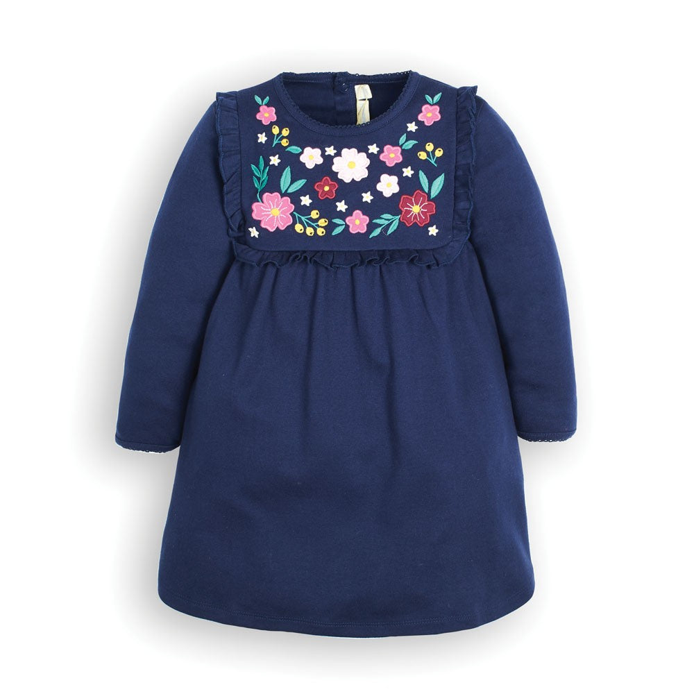 Jojo Maman Bebe Girls' Navy Floral Embroidered Jersey Dress