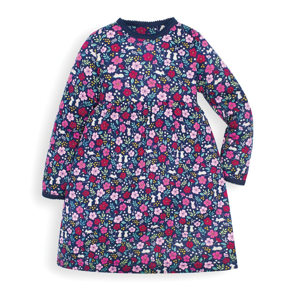 Jojo Maman Bebe Baby Girls' Navy Mouse Floral Classic Dress