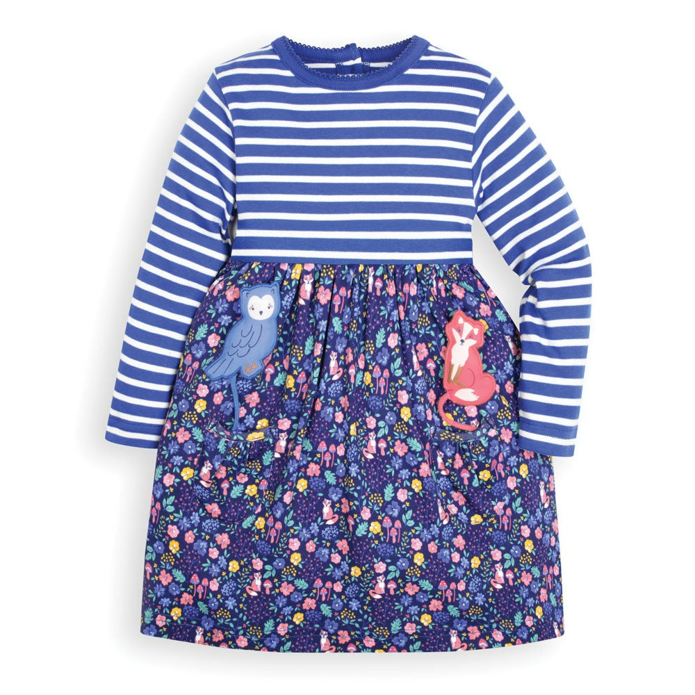 Jojo Maman Bebe Baby Girls' Navy Pocket Friends Dress