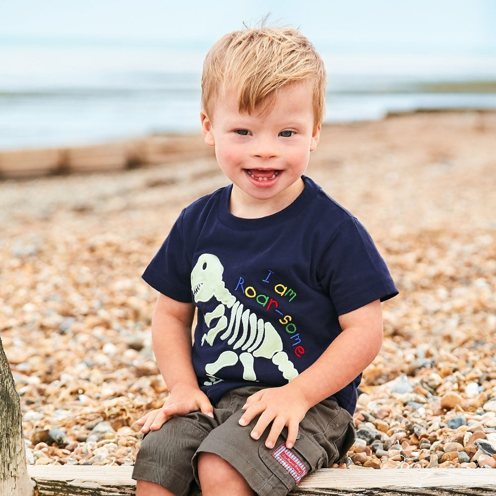 Jojo Maman Bebe, Baby Boy Apparel - Tees,  Jojo Maman Bebe Glow-in-the-Dark Dinosaur Baby Tee