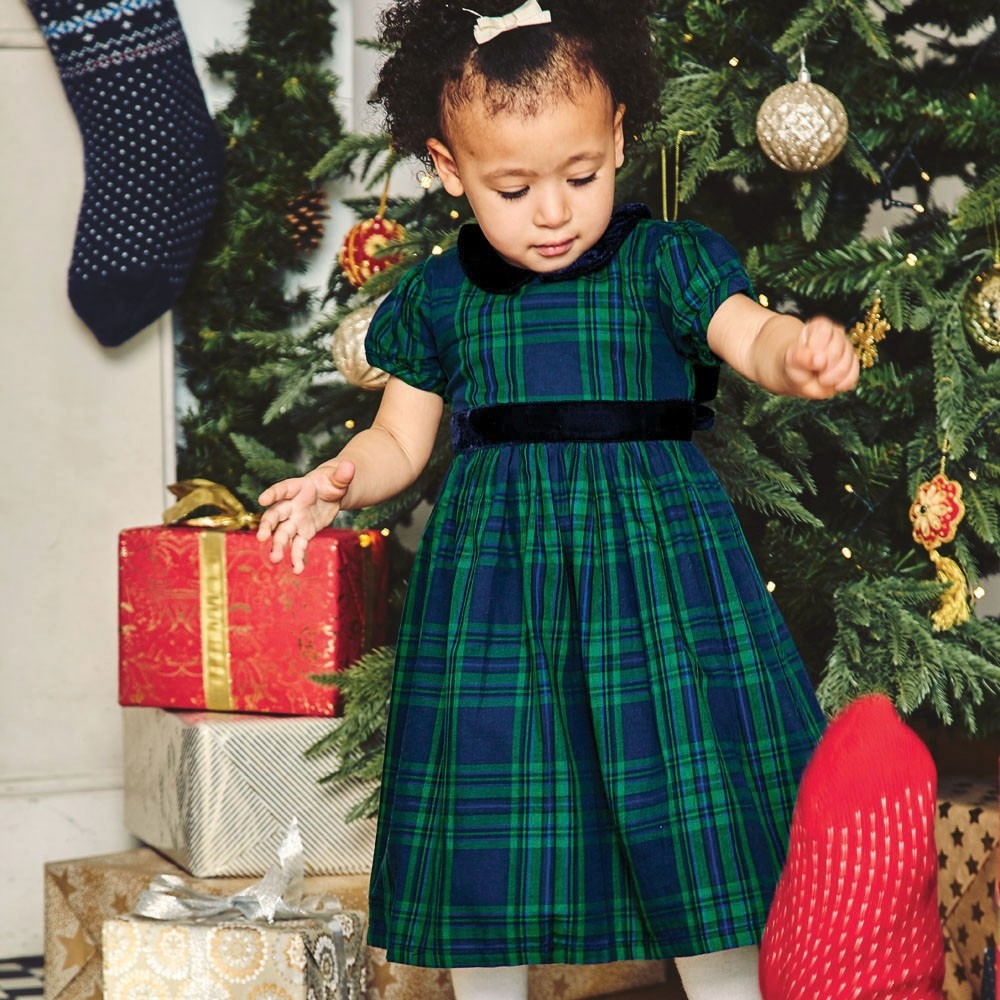 Jojo Maman Bebe, Girl - Dresses,  Jojo Maman Bebe Navy & Green Plaid Party Dress