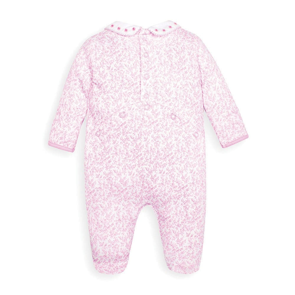 Jojo Maman Bebe, Baby Girl Apparel - One-Pieces,  Jojo Maman Bebe Pink Pretty Smocked Baby Footie
