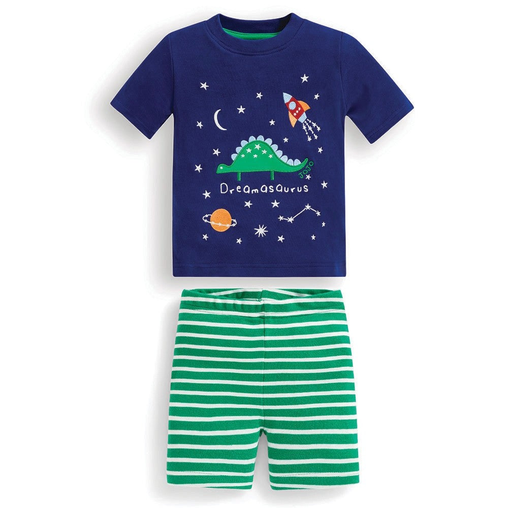 Jojo Maman Bebe Short Dinosaur Glow-in-the-Dark Snug Fit Pajamas-Boy - Pajamas-Jojo Maman Bebe-2-3Y-Eden Lifestyle
