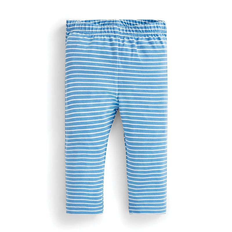 Jojo Maman Bebe Striped Blue Cropped Leggings-Girl - Leggings-Jojo Maman Bebe-2-3Y-Eden Lifestyle